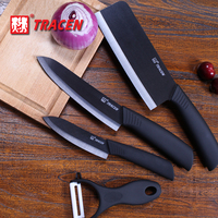 High quality Paring Fruit Utility + peeler + vegetable knife +cut meat artifact + Holder Block Chef Kitchen Ceramic Knife Sets