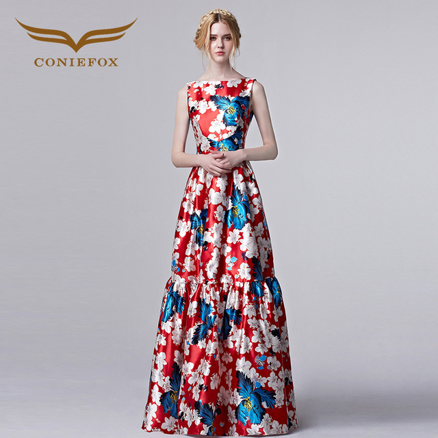 Coniefox new 2016 Summer Women Elegant Designer Prom Dress Vintage Retro Floral Print Celebrity Dress Vestido De Festa 31309