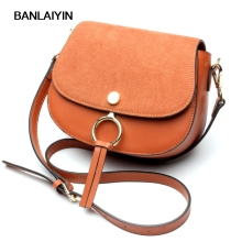 Simple Classic Style Crossbody Bags High Quality Matte Cow Split Leather Women Shoulder Bag Ring Design Girls Small Bag