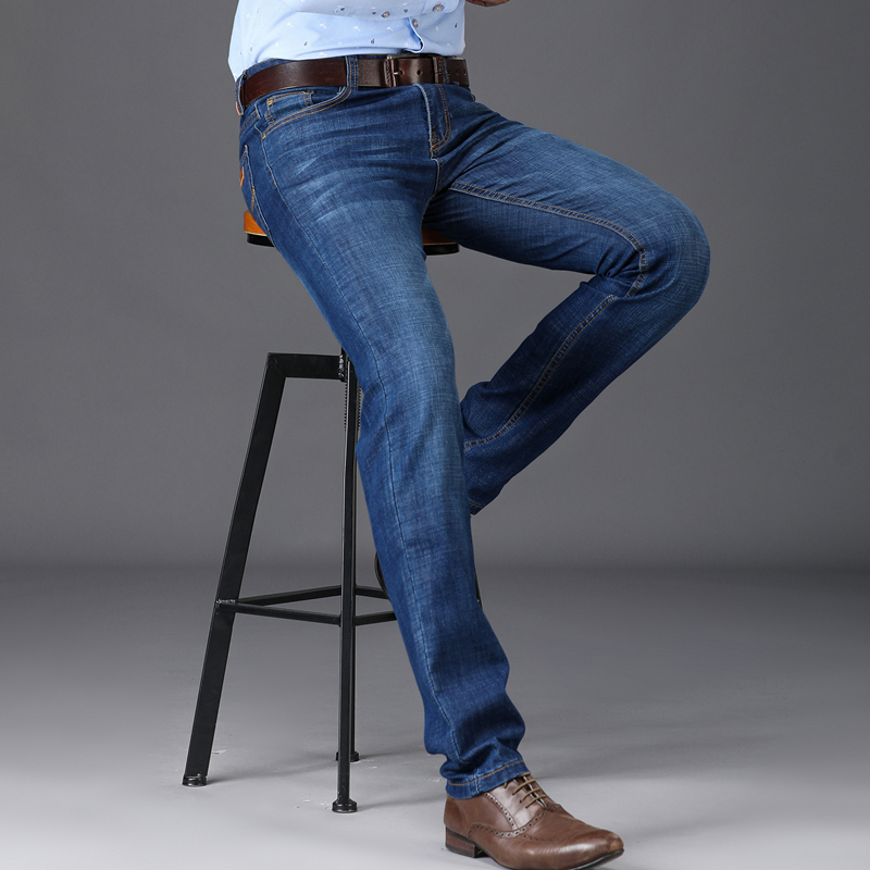 Mens Cotton Classic Stretch Jeans Slim Straight Jeans Waist Young People Straight High Quality Men Jeans