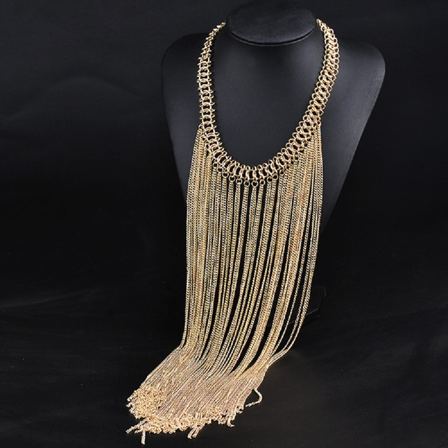2016 Fashion jewelry wholesale choker necklace long Tassel necklaces    pendants bohemia gold chain necklace maxi Necklaces women 8f860b05fc87