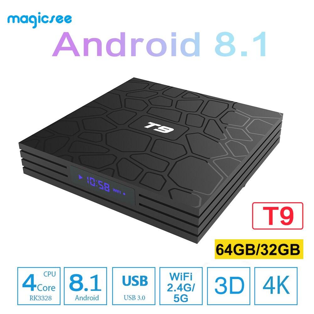 Boîtier Tv T9 RK3318 Quad Core Android 9.0 boîtier TV 4G + 32G/64G USB 3.0 décodeur 4K intelligent 2.4G/5G double WIFI Bluetooth 4.0 tvbox