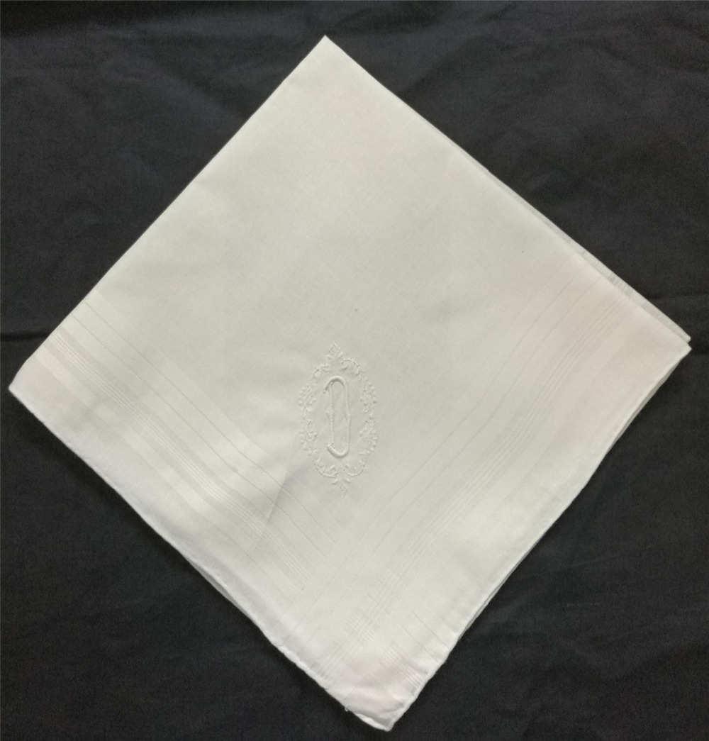 """12 unids/lote de moda de los hombres con monograma pañuelos 16,5x16,5 """"de algodón blanco boda pañuelos con solo blanco inicial D bordado"""