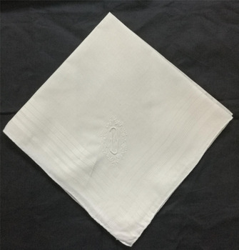 12PCS/Lot Fashion Men's Monogrammed Handkerchiefs 16.5x16.5White Cotton Wedding Hankies with White Single Initial D Embroidered