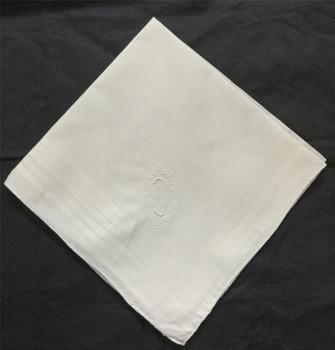 Mouchoirs monogrammés pour hommes | 16.5x16.5 , Hankies de mariage blanc en coton, avec initiale unique D brodée, à la mode, x, 12 pièces/lot