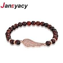 Janeyacy новый дизайн натуральный камень тигровый глаз браслет