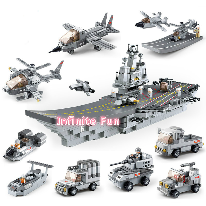 Sluban 9 In1 Military Series Army NAVY Warship Model Building Blocks Aircraft Carrier Plane Carrier Bricks Toy Gift 1001 PCS enlighten 1406 8 in 1 combat zones military army cars aircraft carrier weapon building blocks toys for children