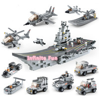 Sluban 9 In1 Military Series Army NAVY Warship Model Building Blocks Aircraft Carrier Plane Carrier Bricks Toy Gift 1001 PCS