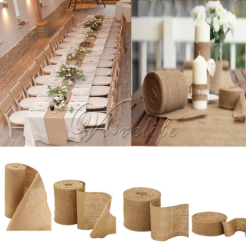 10 メートル自然なジュートヘッセ行列麻布リボンロール黄麻布のテーブルランナー結婚式のパーティーチェアバンドヴィンテージ家の装飾 4  サイズ    グループ上の ホーム