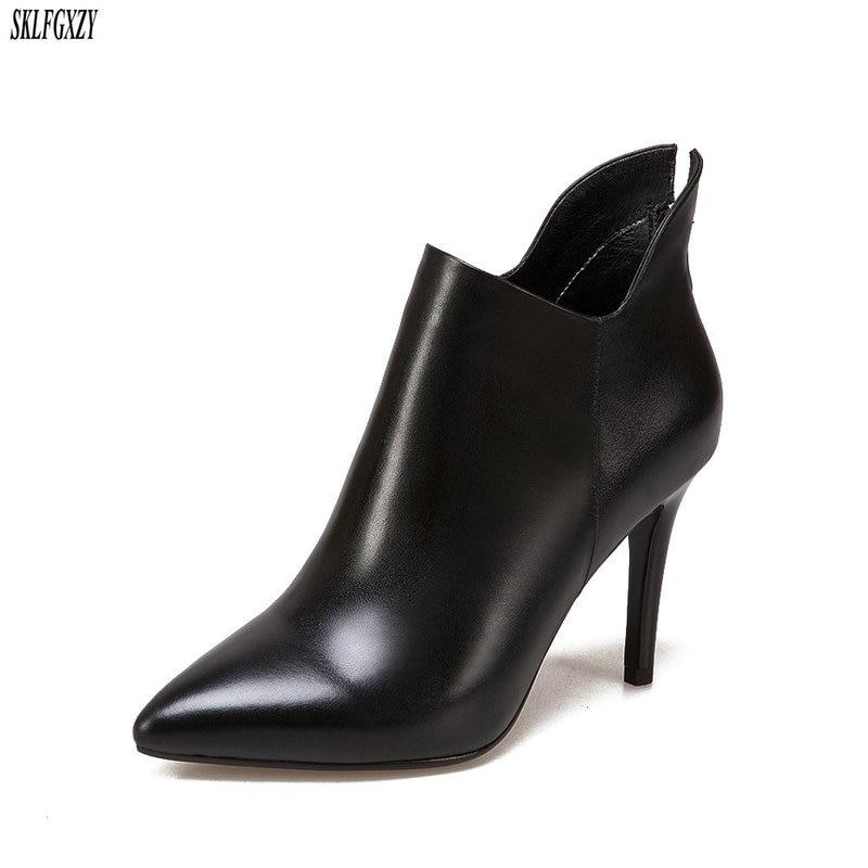 high 34 2018 gre Sklfcxzy spitze schwarzrot frauen mode schuhe stiefel heels 43 leder stil herbst neue von dWQreExoCB