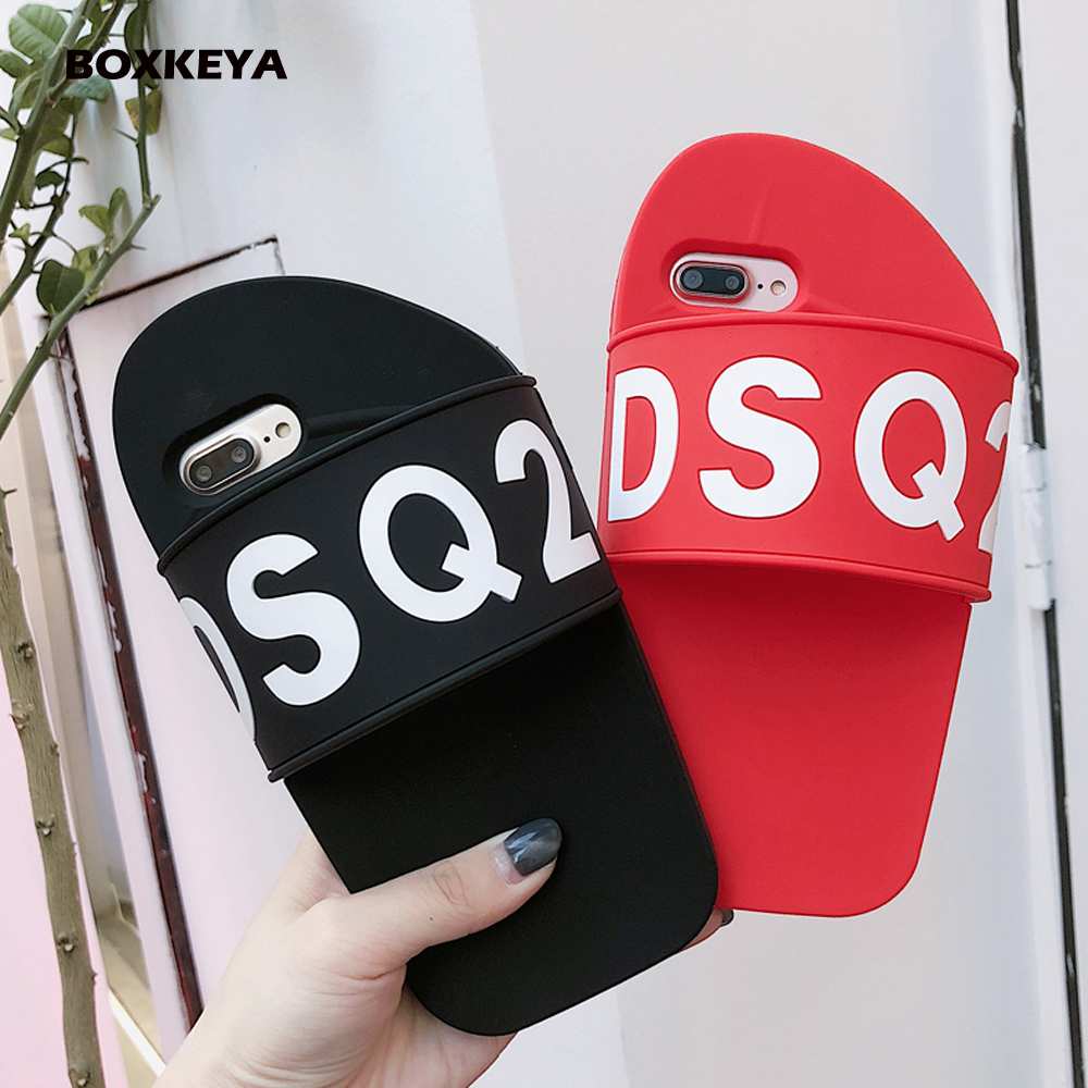 fa37d5c6c2 Luxury Fancy Silicone 3D Cute Cartoon Slipper Soft Back Cover Case for Apple  iPhone 6 6s 7 8 Plus X Capa Sweet Lovers' Gift-in Fitted Cases from  Cellphones ...