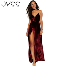 JYSS New Fashion Sexy Women Long Dress Pleuche Solid dress Backless High side slit V-Neck Low strapless camis dress 80862