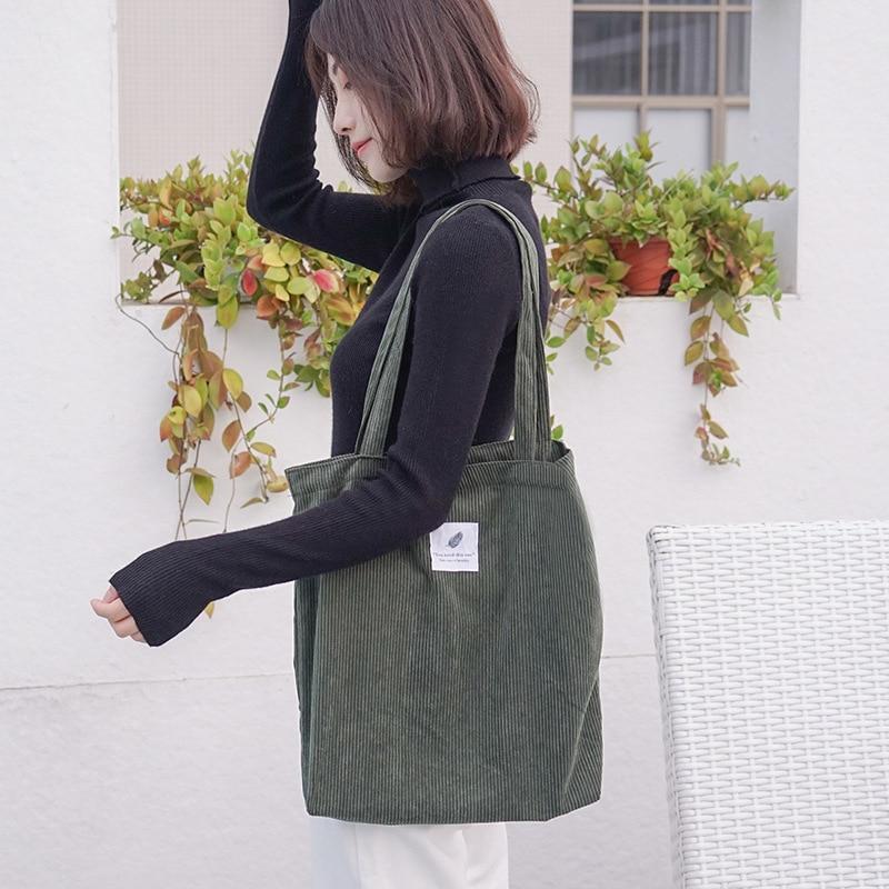 Canvas Tote Handbag Shoulder-Bags Cloth Female Girls Young Corduroy Reusable Casual Ladies