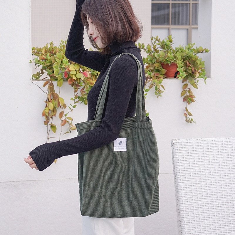 Women Corduroy Canvas Tote Handbag Female Cloth Shoulder Bags Young Ladies Casual Shopping Bag Girls Reusable Folding Bags(China)