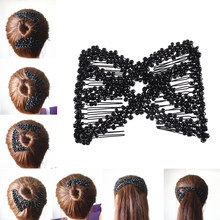 M MISM Women Pearl Beads Elastic Hair Combs Double Slide Magic Bun DIY Hairstyle Making Tool Metal Novelty Hair Clip Accessories(China)