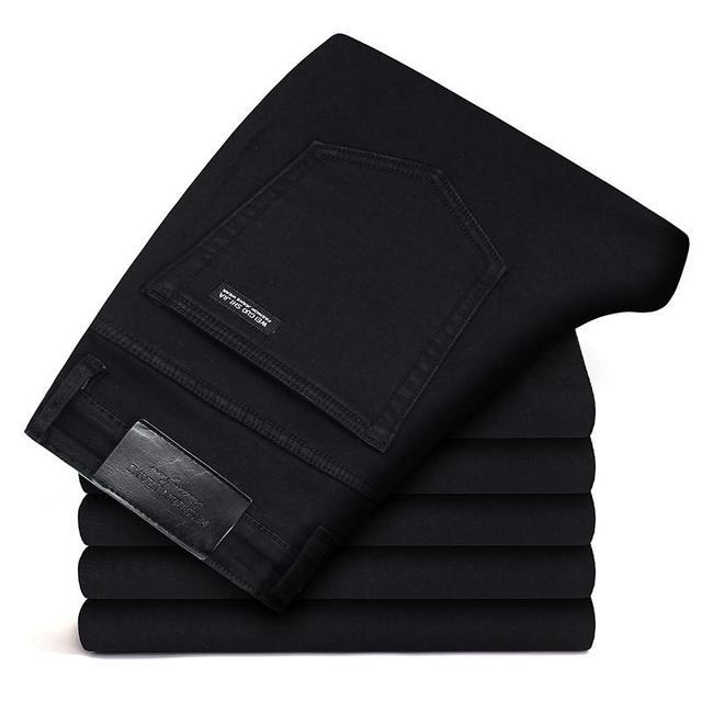 Marki spodnie jeansowe męskie ubrania 2020 nowe czarne elastyczność obcisłe dżinsy rurki Business Casual męskie spodnie jeansowe obcisłe spodnie w stylu klasycznym