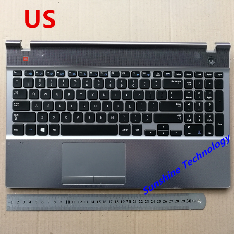 US/UK new laptop keyboard with touchpad palmrest for Samsung NP550P5C 550P5C BA75-03738D sliver цена