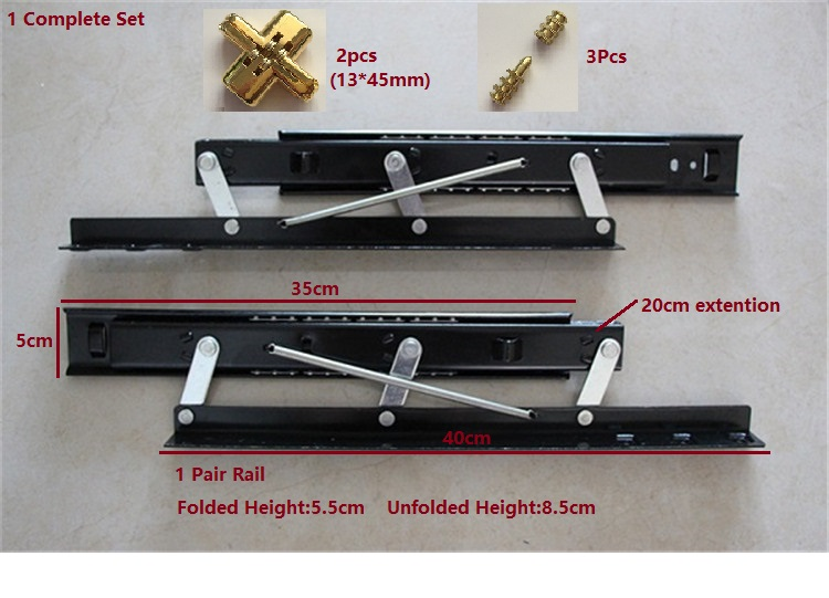 35CM (14) Dinning Table Top Desk Slide Rail Folding Extending Mechanism
