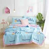 2019 Blue Teddy Bear Cartoon Quilting Quilt Soft Stitching Soft Cotton Fabric Polyester Filler Twin Full Queen Summer Comforter