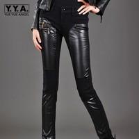 2019 Autumn New Fashion Women Pu Pants Female Jeans Casual Broeken Woman High Waist Calca Feminina Cintura Alta Zipper Plus Size