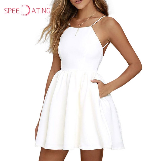 13c1fcbe318f 2017 Fashion Spaghetti Strap Backless White Skater Dresses Pockets Short  Mini Date Dresses Flare Square Neck Dress SPEEDATING