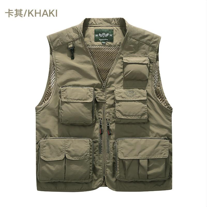 Male Vest Quick drying Mesh Multi pocket Photography outwear Reporter Euro Large Size Vest Waistcoat Summer Sleeveless Men
