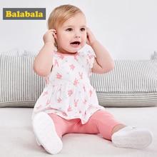 Купить с кэшбэком Balabala baby girls clothing set newborn 100% cotton lovely printed clothes suit short sleeve t-shirt+leggings for infant