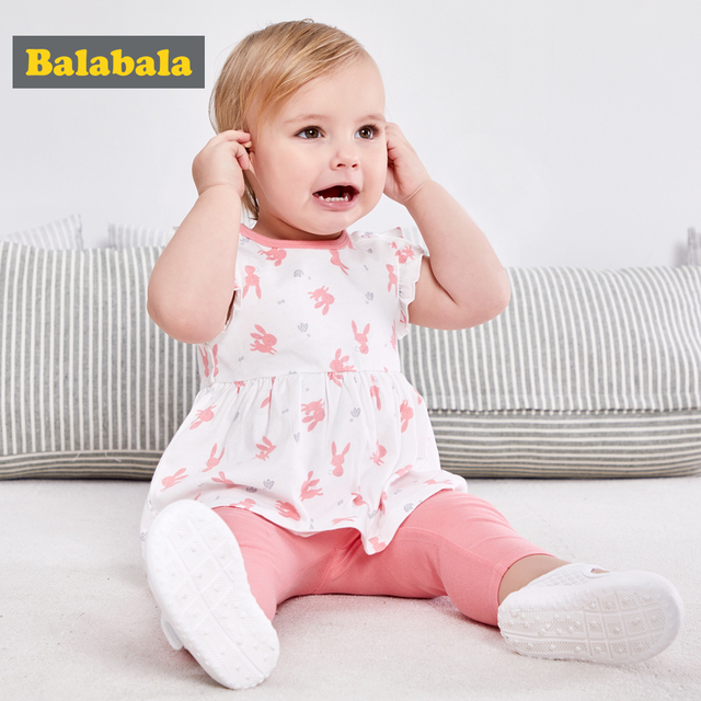 Balabala baby girls clothing set newborn 100% cotton lovely printed clothes suit short sleeve t-shirt+leggings for infant