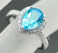 Кольцо 14 К Белое золото природных алмазов и Топаз Обручение Свадебные драгоценного камня