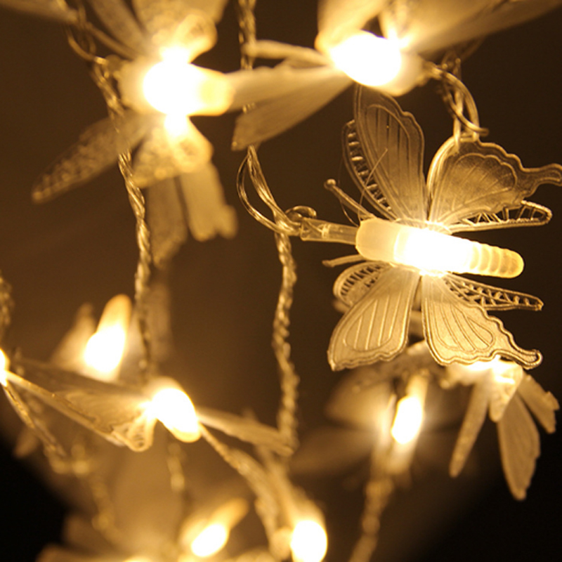 Bright 5M 20leds Dragonfly / Butterfly / maskros Jul Led String Fairy Light Peach Inomhus Utomhus Garden Tree Decoration