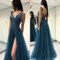Sexy evening dresses with Slit Long Prom Dresses Special Occasion Gowns Appliques Beading Formal Party Dress vestido de festa