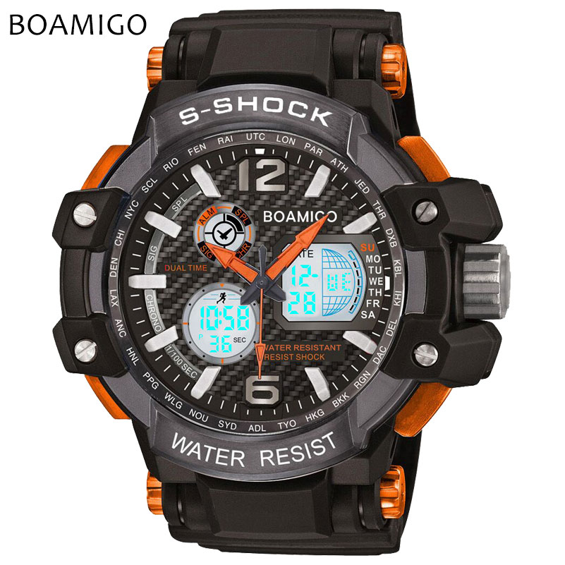 S Shock Men Sports Watches Analog Digital Watches LED Electronic BOAMIGO Brand Quartz Wristwatches 50M Waterproof Reloj Hombre boamigo men sports watches brown leather band man military quartz led digital analog casual wristwatches waterproof reloj hombre