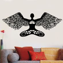 Vinyl Wall Decal Yoga Pose Mural Meditation Girl Angel Lotus Sticker Home Living Room Decoration Wallpaper AY824