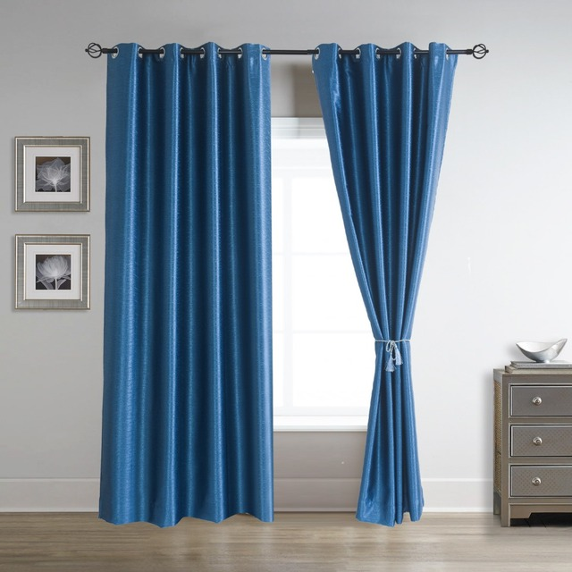 Soild Thermal Blackout Curtains Pair Grommet Panels D 52 Inch By 84 Shire Blue 2