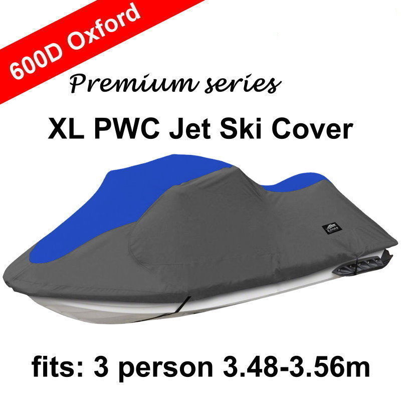 600D Solution Dyed 8.1oz Oxford Boat Cover For Universal Fit 3 person PWC Jet Ski, 116 to 135 / 137 to 140 UV Mildew Protected image