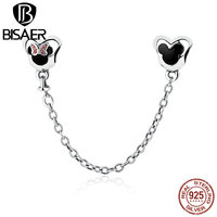 VOROCO Genuine 925 Sterling Silver Minnie Mouse Safety Chain Stopper Charms Fit Charm Bracelets For Women