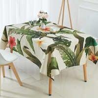 Toalha de mesa tropical folha de banana à prova dtoágua toalha de mesa decoração para casa mantelas capa de mesa