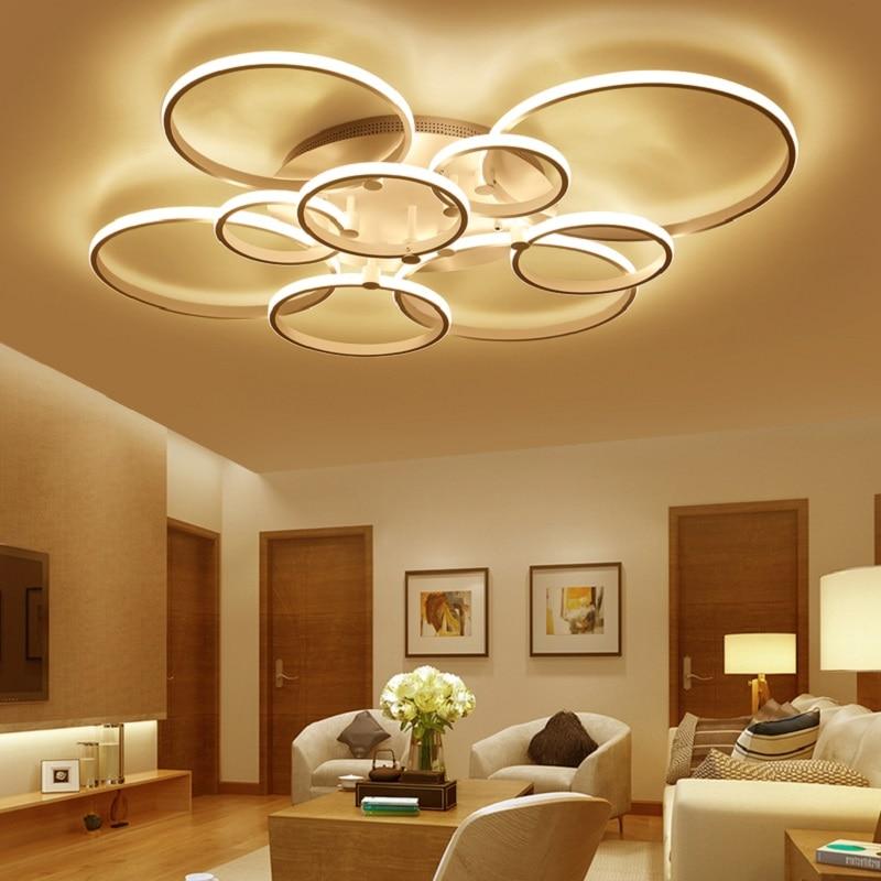 Light Filled Contemporary Living Rooms: Brown/white Modern LED Ceiling Chandelier For Living Room