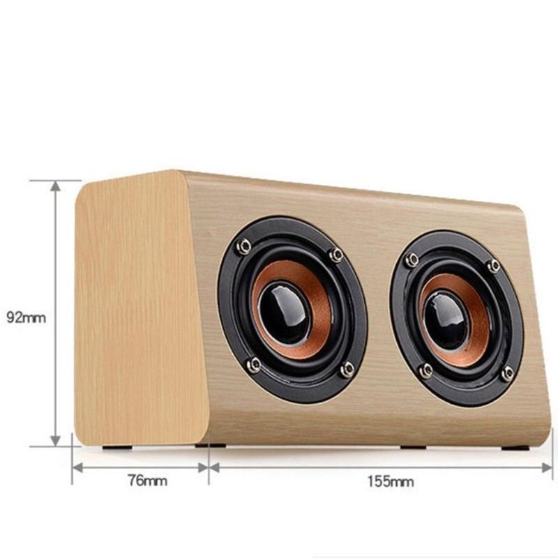 Avanshare Leseni Bluetooth zvočnik Retro Wood HIFI 3D Dvojni - Prenosni avdio in video - Fotografija 3