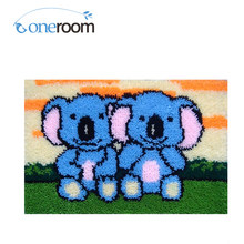 ZD21 Two Small Elephants Hook Rug Kit DIY Unfinished Crocheting Yarn Mat Latch Hook Rug Kit Floor(China)