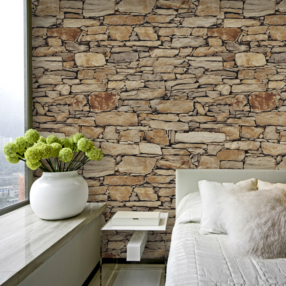 Realistic 3d illustration of modern wooden bookshelf against ston - Haokhome Vintage Faux Stone Brick Wallpaper Rolls Tan Sand Grey 3d Realistic Paper Murals