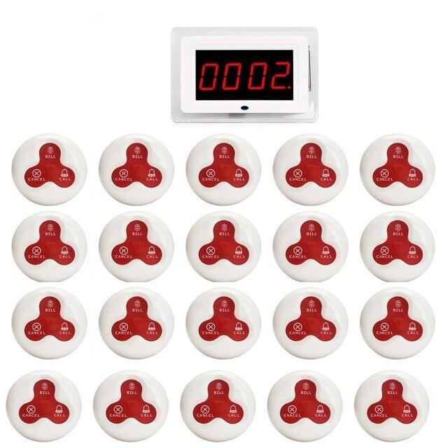 Беспроводной официант медсестра вызов пейджер Системы хоста получателя голос вещания + 20 штук передатчик вызова кнопку Ресторан F3259B