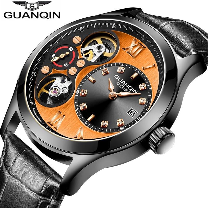 GUANQIN Fashion Tourbillon Watch Automatic Luxury Mechanical Watches Men Calendar Small second dial Luminous Leather Watch men lo ultimo en reloj tourbillon