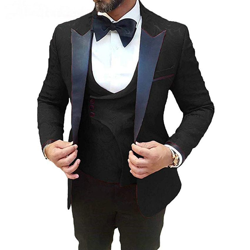 Men Wedding Suits 2019 Custom Made Groom 3 Pieces Tuxedo Men Wedding Party Dinner Best Man Blazer Suits (Jacket+Pants+Vest+Bow)