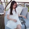 2017 новой Корейской версии беременных женщин юбка свободные большой размер плиссированные коротким рукавом шифон беременных женщин dress