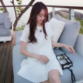 2017 new Korean version of pregnant women skirt loose large size pleated short-sleeved chiffon pregnant women dress