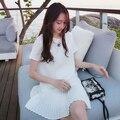 2017 nova versão coreana de mulheres grávidas saia solta tamanho grande plissado curto-de mangas compridas chiffon mulheres grávidas dress