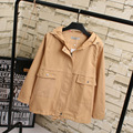 2016 Autumn Short Style Trench Coat for Women Casual Plus Size 3XL Pockets Loose Hooded Trench Outerwear KK1897