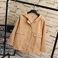 2016 Otoño Corto Estilo Trench Coat para Las Mujeres Bolsillos Loose Capucha Trench prendas de Vestir Exteriores Ocasional Más Tamaño 3XL KK1897