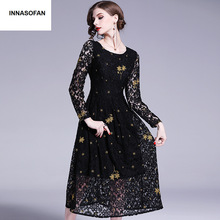 29fbbddaab113 Kızlar için Dantel elbise Kadın Bahar-uçuş elbise yüksek bel Euro-Amerikan  moda elbise uzun kollu ve işlemeli çiçek